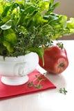 Salat und roter Apfel Stockfotografie
