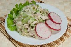 Salat vom Huhn, ein grüner Rettich Lizenzfreies Stockfoto