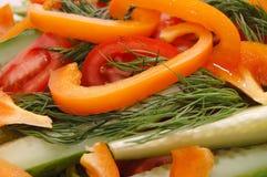 Salat von den Gurken, von den Tomaten und vom Pfeffer Lizenzfreie Stockfotografie