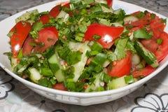 Salat von frischen Tomaten und von Gurken Stockbild