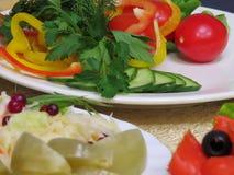Salat von Grüns und von Gemüse Stockfotos