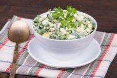 Salat von Zwiebeln zusammen mit dem Ei und der Gurke Lizenzfreies Stockbild