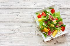 Salat With Tuna, Fresh Vegetables And Eggs Stock Images