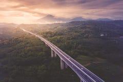 Salatiga tollway на времени захода солнца стоковые фото