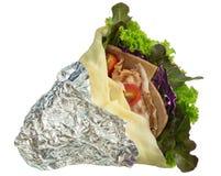 Salatkrepp mit Schinkenspeck und -gemüse auf Teller Lizenzfreie Stockfotos