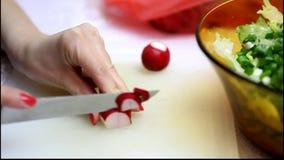 Salatreihenfolge an Bord kochen stock footage
