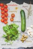 Salatrezeptfoto-Illustrationscollage Lizenzfreie Stockbilder