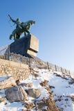 Salavat Yulaev i Ufa som upp ser avståndsbild i snö Fotografering för Bildbyråer