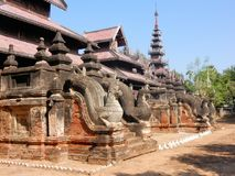 Salay of Sale, Monastery with carvings, Central Myanmar, Burma stock photo