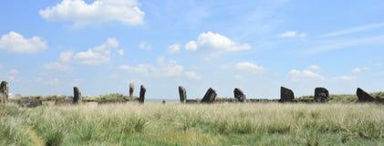 Salbykskiy-Hügel Alte Steine in der Steppe Chakassischen Gebietes Chakassisches Gebiet Stonehenge Lizenzfreie Stockbilder