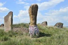 Salbykskiy-Hügel Alte Steine in der Steppe Chakassischen Gebietes Russland Khakassia Lizenzfreies Stockbild
