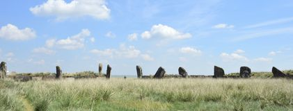 Salbykskiy mound. Ancient stones in the Khakass steppe. Khakass Stonehenge Royalty Free Stock Images