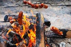 Salchicha asada en el fuego Foto de archivo libre de regalías