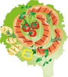 Salchicha asada a la parrilla jugosa brillante en un ejemplo de la hoja de la lechuga Ilustración del Vector