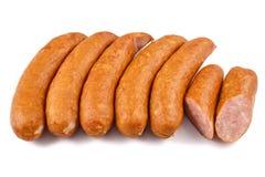 Salchicha, carnes frías de los jess aisladas en el fondo blanco Imagen de archivo libre de regalías