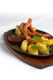 Salchicha con la empanada del sauerkraut Fotografía de archivo libre de regalías