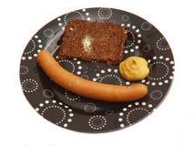 Salchicha con pan Imagen de archivo libre de regalías