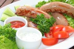 Salchicha, salchicha de Francfort, salsa foto de archivo libre de regalías
