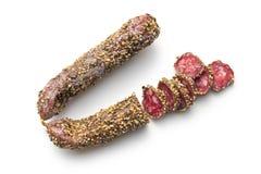 Salchicha secada con el grano de pimienta Fotografía de archivo
