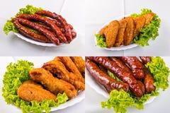 Salchicha y alas de pollo fritas imagenes de archivo