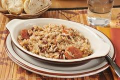 Salchicha y arroz de Cajun fotos de archivo