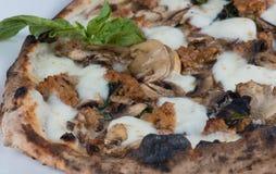 Salchicha y pizza encendidas madera de las setas Imagen de archivo libre de regalías