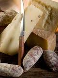 Salchicha y queso Imagen de archivo libre de regalías