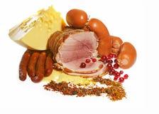 Salchicha y queso, productos de carne Foto de archivo libre de regalías