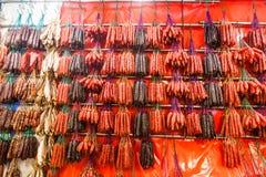 Salchichas chinas y carne encerada por Año Nuevo chino Fotografía de archivo libre de regalías