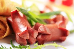 Salchichas de la carne asada Imágenes de archivo libres de regalías