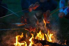 Salchichas en el fuego foto de archivo libre de regalías