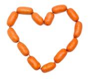 Salchichas en forma del corazón Foto de archivo libre de regalías