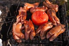 Salchichas muy sabrosas asadas a la parrilla con los tomates Comida campestre en naturaleza fotos de archivo