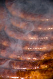 Salchichas que fuman de la barbacoa Fotografía de archivo libre de regalías