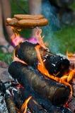 Salchichas sobre hoguera en jardín Imágenes de archivo libres de regalías