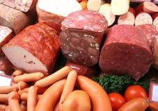 Salchichas y carne Imagenes de archivo