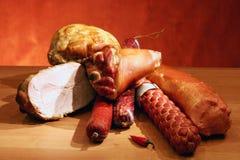 Salchichas y carnes Foto de archivo libre de regalías