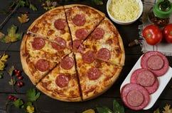 Salchichones de la pizza con el salami fotografía de archivo libre de regalías