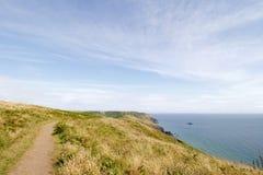Salcombe Bolberry ner, södra Devon kust- vandringsled, UK Arkivfoton