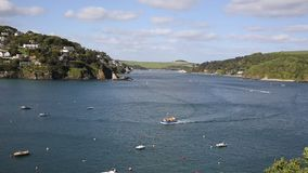 Salcombe Devon England UK with boats sailing on the estuary stock video