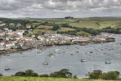 Salcombe Harbour, Devon, UK. Salcombe is a popular resort town in the South Hams district of Devon, south west England. The town is close to the mouth of the stock photo