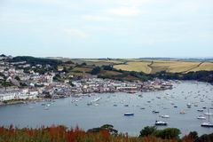 Salcombe Harbour, Devon, UK. Salcombe is a popular resort town in the South Hams district of Devon, south west England. The town is close to the mouth of the stock photography
