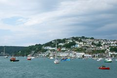 Salcombe Harbour, Devon, UK. Salcombe is a popular resort town in the South Hams district of Devon, south west England. The town is close to the mouth of the stock image