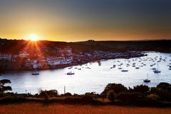 Salcombe Sunset Devon England. Salcombe ria (estuary) sunset in south Devon England UK royalty free stock photos