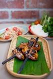 Sald tailandês da papaia com galinha da grade Imagens de Stock