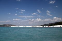 Salda Lake. Beach in Burdur, Turkey royalty free stock photos
