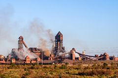 Detail view of Saldanha Steel facilities , owned by ArcelorMittal South Africa. Saldanha Bay, South Africa - November 11, 2017 - Detail view of Saldanha Steel Stock Photos