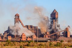 Detail view of Saldanha Steel facilities , owned by ArcelorMittal South Africa. Saldanha Bay, South Africa - November 11, 2017 - Detail view of Saldanha Steel Royalty Free Stock Image