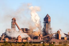 Detail view of Saldanha Steel facilities , owned by ArcelorMittal South Africa. Saldanha Bay, South Africa - November 11, 2017 - Detail view of Saldanha Steel Stock Photo