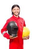 Saldatore in camici rossi Fotografia Stock